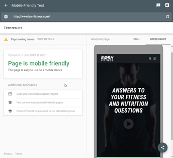 mobile friendliness of your website